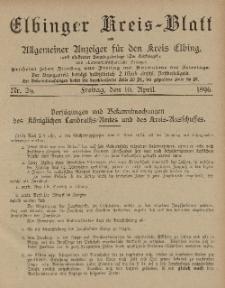 Kreis-Blatt des Königlich Preußischen Landraths-Amtes zu Elbing, Nr. 29 Freitag 10 April 1896