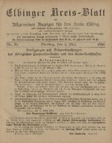 Kreis-Blatt des Königlich Preußischen Landraths-Amtes zu Elbing, Nr. 36 Dienstag 5 Mai 1896