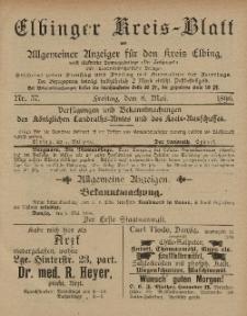 Kreis-Blatt des Königlich Preußischen Landraths-Amtes zu Elbing, Nr. 37 Freitag 8 Mai 1896