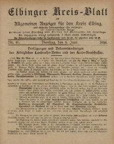 Kreis-Blatt des Königlich Preußischen Landraths-Amtes zu Elbing, Nr. 46 Dienstag 9 Juni 1896
