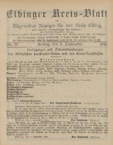 Kreis-Blatt des Königlich Preußischen Landraths-Amtes zu Elbing, Nr. 73 Freitag 11 September 1896
