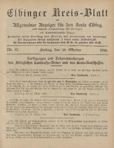 Kreis-Blatt des Königlich Preußischen Landraths-Amtes zu Elbing, Nr. 87 Freitag 30 Oktober 1896