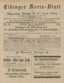 Kreis-Blatt des Königlich Preußischen Landraths-Amtes zu Elbing, Nr. 89 Freitag 6 November 1896