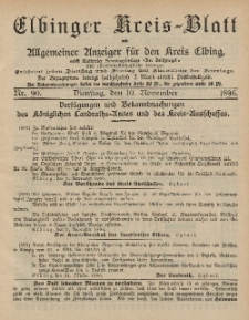 Kreis-Blatt des Königlich Preußischen Landraths-Amtes zu Elbing, Nr. 90 Dienstag 10 November 1896