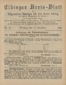 Kreis-Blatt des Königlich Preußischen Landraths-Amtes zu Elbing, Nr. 92 Dienstag 17 November 1896