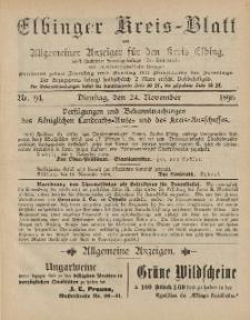 Kreis-Blatt des Königlich Preußischen Landraths-Amtes zu Elbing, Nr. 94 Dienstag 24 November 1896