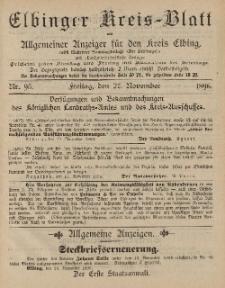 Kreis-Blatt des Königlich Preußischen Landraths-Amtes zu Elbing, Nr. 95 Freitag 27 November 1896