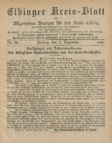 Kreis-Blatt des Königlich Preußischen Landraths-Amtes zu Elbing, Nr. 99 Freitag 11 Dezember 1896
