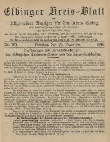 Kreis-Blatt des Königlich Preußischen Landraths-Amtes zu Elbing, Nr. 103 Dienstag 29 Dezember 1896