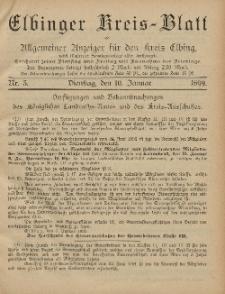 Kreis-Blatt des Königlich Preußischen Landraths-Amtes zu Elbing, Nr. 3 Dienstag 10 Januar 1899