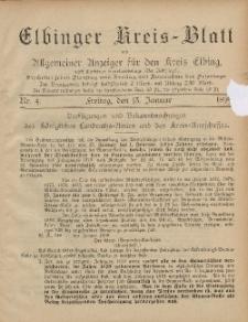 Kreis-Blatt des Königlich Preußischen Landraths-Amtes zu Elbing, Nr. 4 Freitag 13 Januar 1899