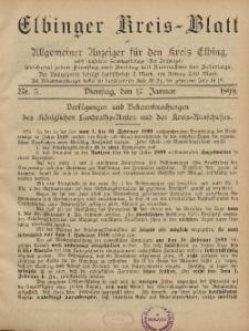 Kreis-Blatt des Königlich Preußischen Landraths-Amtes zu Elbing, Nr. 5 Dienstag 17 Januar 1899
