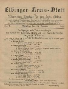 Kreis-Blatt des Königlich Preußischen Landraths-Amtes zu Elbing, Nr. 7 Dienstag 24 Januar 1899