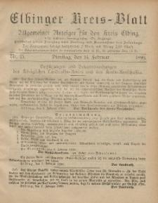 Kreis-Blatt des Königlich Preußischen Landraths-Amtes zu Elbing, Nr. 13 Dienstag 14 Februar 1899