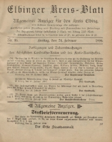 Kreis-Blatt des Königlich Preußischen Landraths-Amtes zu Elbing, Nr. 16 Freitag 24 Februar 1899