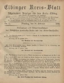 Kreis-Blatt des Königlich Preußischen Landraths-Amtes zu Elbing, Nr. 17 Dienstag 28 Februar 1899