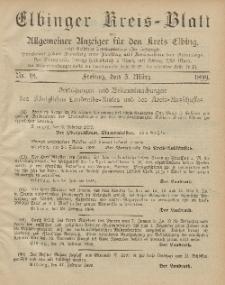 Kreis-Blatt des Königlich Preußischen Landraths-Amtes zu Elbing, Nr. 18 Freitag 3 März 1899