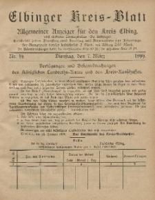 Kreis-Blatt des Königlich Preußischen Landraths-Amtes zu Elbing, Nr. 19 Dienstag 7 März 1899