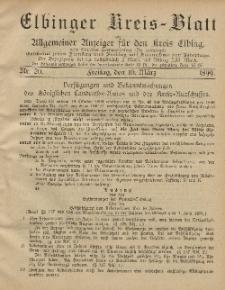 Kreis-Blatt des Königlich Preußischen Landraths-Amtes zu Elbing, Nr. 20 Freitag 10 März 1899