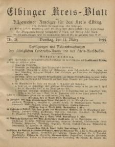 Kreis-Blatt des Königlich Preußischen Landraths-Amtes zu Elbing, Nr. 21 Dienstag 14 März 1899