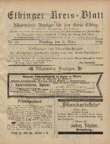 Kreis-Blatt des Königlich Preußischen Landraths-Amtes zu Elbing, Nr. 23 Dienstag 21 März 1899