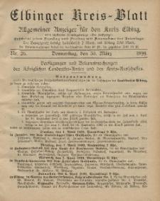 Kreis-Blatt des Königlich Preußischen Landraths-Amtes zu Elbing, Nr. 26 Donnerstag 30 März 1899