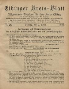 Kreis-Blatt des Königlich Preußischen Landraths-Amtes zu Elbing, Nr. 28 Freitag 7 April 1899
