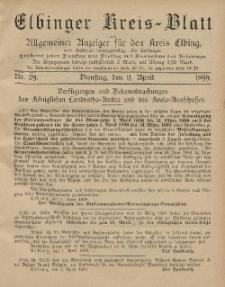 Kreis-Blatt des Königlich Preußischen Landraths-Amtes zu Elbing, Nr. 29 Dienstag 11 April 1899