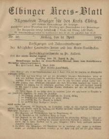 Kreis-Blatt des Königlich Preußischen Landraths-Amtes zu Elbing, Nr. 30 Freitag 14 April 1899