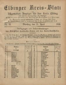 Kreis-Blatt des Königlich Preußischen Landraths-Amtes zu Elbing, Nr. 33 Dienstag 25 April 1899