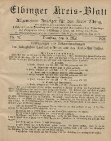 Kreis-Blatt des Königlich Preußischen Landraths-Amtes zu Elbing, Nr. 37 Dienstag 9 Mai 1899