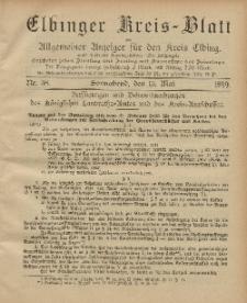Kreis-Blatt des Königlich Preußischen Landraths-Amtes zu Elbing, Nr. 38 Sonnabend 13 Mai 1899