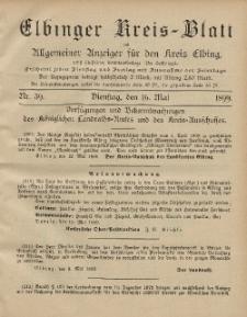 Kreis-Blatt des Königlich Preußischen Landraths-Amtes zu Elbing, Nr. 39 Dienstag 16 Mai 1899