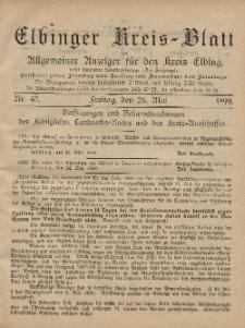 Kreis-Blatt des Königlich Preußischen Landraths-Amtes zu Elbing, Nr. 42 Freitag 26 Mai 1899