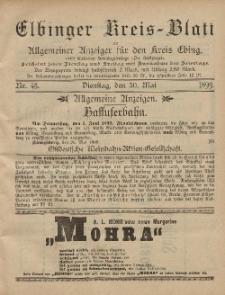 Kreis-Blatt des Königlich Preußischen Landraths-Amtes zu Elbing, Nr. 43 Dienstag 30 Mai 1899