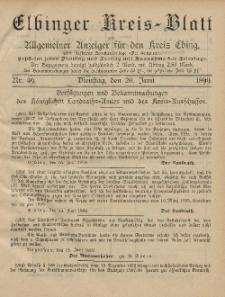 Kreis-Blatt des Königlich Preußischen Landraths-Amtes zu Elbing, Nr. 49 Dienstag 20 Juni 1899