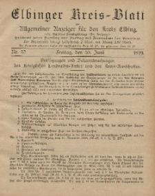 Kreis-Blatt des Königlich Preußischen Landraths-Amtes zu Elbing, Nr. 52 Freitag 30 Juni 1899