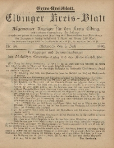 Kreis-Blatt des Königlich Preußischen Landraths-Amtes zu Elbing, Nr. 54 Mittwoch 5 Juli 1899