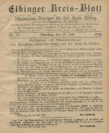 Kreis-Blatt des Königlich Preußischen Landraths-Amtes zu Elbing, Nr. 58 Dienstag 18 Juli 1899