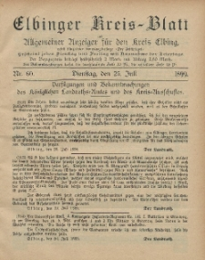 Kreis-Blatt des Königlich Preußischen Landraths-Amtes zu Elbing, Nr. 60 Dienstag 25 Juli 1899