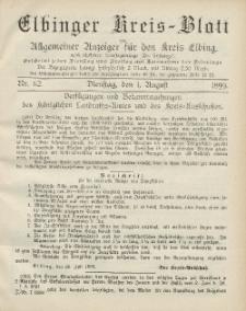 Kreis-Blatt des Königlich Preußischen Landraths-Amtes zu Elbing, Nr. 62 Dienstag 1 August 1899