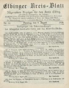 Kreis-Blatt des Königlich Preußischen Landraths-Amtes zu Elbing, Nr. 64 Dienstag 8 August 1899