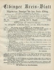 Kreis-Blatt des Königlich Preußischen Landraths-Amtes zu Elbing, Nr. 65 Freitag 11 August 1899