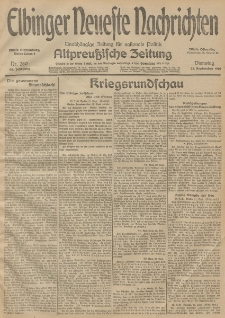 Elbinger Neueste Nachrichten, Nr. 260 Dienstag 22 September 1914 66. Jahrgang