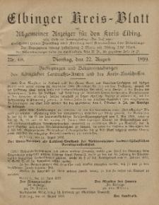 Kreis-Blatt des Königlich Preußischen Landraths-Amtes zu Elbing, Nr. 68 Dienstag 22 August 1899