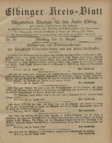 Kreis-Blatt des Königlich Preußischen Landraths-Amtes zu Elbing, Nr. 70 Dienstag 29 August 1899