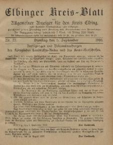 Kreis-Blatt des Königlich Preußischen Landraths-Amtes zu Elbing, Nr. 72 Dienstag 5 September 1899