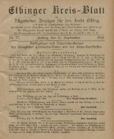 Kreis-Blatt des Königlich Preußischen Landraths-Amtes zu Elbing, Nr. 75 Freitag 15 September 1899