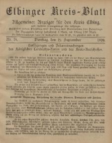 Kreis-Blatt des Königlich Preußischen Landraths-Amtes zu Elbing, Nr. 76 Dienstag 19 September 1899