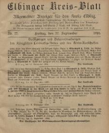 Kreis-Blatt des Königlich Preußischen Landraths-Amtes zu Elbing, Nr. 77 Freitag 22 September 1899